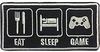 Amazon Com Video Games Eat Sleep Game Sew Iron On Embroidered Original Artwork Patch 1 8 X 3 6