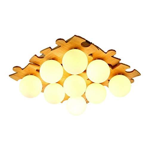 Alvnd Moderne, vierkante plafondlamp, 9 koppen, van massief hout, voor woonkamer, 75 x 75 cm