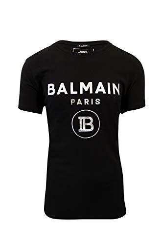 Balmain Herren T-Shirt Schwarz Logo Silber EAC-Estate 2020, Schwarz XL