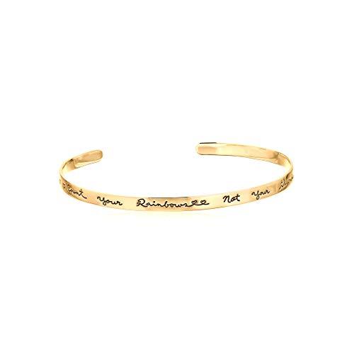 YOOE Simplicity - Pulsera de Amor con Letras talladas en inglés, Estilo Retro, diseño de Letras de motivación estrechas para Mujeres y niñas, Regalo de cumpleaños