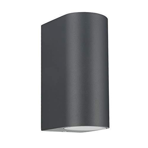 LASIDE Aplique Pared Exterior, GU10 Antracita Aluminio Up Down Lámpara Lampara Exterior Pared, IP44 Impermeable Luz Exterior Iluminación para Balcón, Garaje, Terrazas, Patio, Jardin