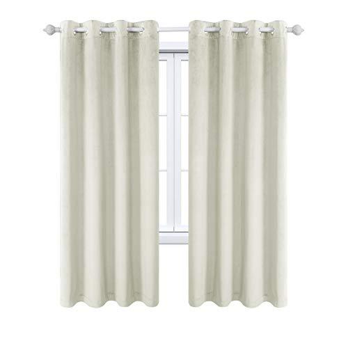 MAXIJIN Velvet Blackout Curtains Wärmeisolierte Fenstervorhänge & Vorhänge Soft Room Darkinging Tüllenvorhänge 1 Panel für Schlafzimmer, Wohnzimmer (1x H 213x B 132cm, Beige)