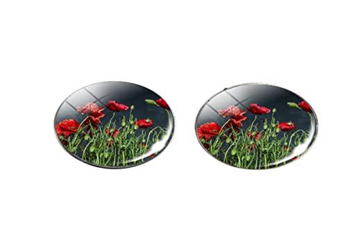 Moda papavero fiori arte modello vetro foto orecchini uomo donna gioielli come regali