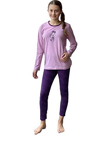 Mädchen Pyjama Schlafanzug Langarm mit niedlicher Meerjungfrau als Motiv - 63987, Farbe:lila, Größe:158/164