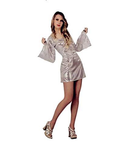 Atosa Disfraz Disco, años 60. Color Plata. Talla: M/L de Mujer.