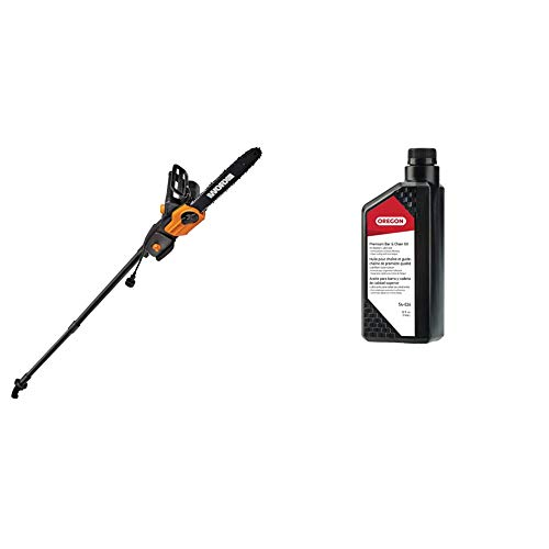 Worx WG309, 8 Amp 10-inch Corded Electric Pole Saw & Chainsaw with Auto-Tension & Oregon 54-026 Bar and Chain Oil, 1 Quart