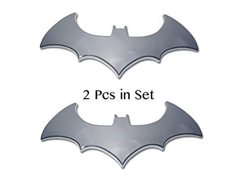 2 Pcs in Set Bat Sticker - Car Emblem Auto Car Truck Motorcycle Accessories Chrome Finish PVC (Batman)