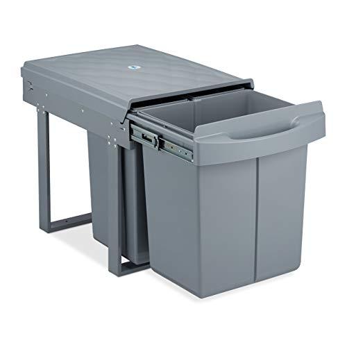 Relaxdays poubelle encastrable coulissante, 3 bacs, système de trie pour le sous-évier, 20l & 2x10l, 41x33,5x52 cm, gris