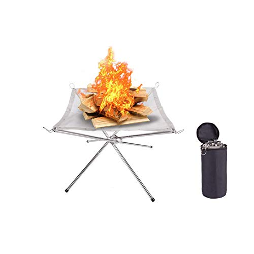 JLYH Portable Fire Pit, Outdoor Stainless Steel Mesh Fireplace Patio Outdoor Heater Firepit with Carrying Bag, Camping Fire Pit Foldable for Camping Backyard Garden Camping Outdoor Patio BBQ