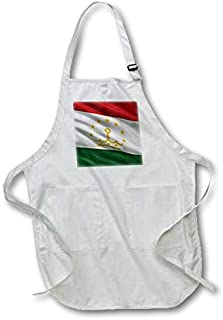 3dRose apr_174736_2 Flag of Tajikistan Waving in The Wind-Medium Length Apron with Pouch Pockets, 22 by 24-Inch