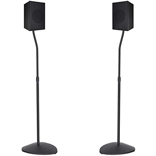 PERLESMITH Adjustable Height Speaker Stands-Extend 31-48 Inch-Hold Small Satellite Bookshelf & Bluetooth Speakers Weight up to 6lbs(i.e. Bose, Polk, JBL, Sony, Samsung, and Klipsch) -1 Pair (PSSS3)