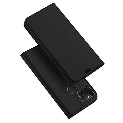 Leather Case for Google Pixel 5, Ultra thin Premium Leather TPU Silicone Shockproof Interior Shell Flip Protection Wallet With [Video Stand] [Card Slot] [Magnetic Closure], Black