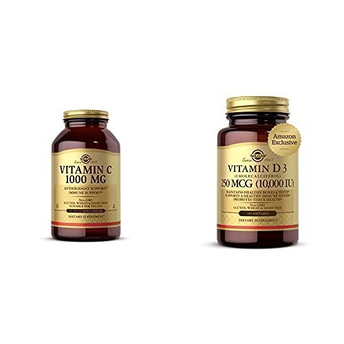 Solgar Vitamin C 1000 mg, 250 Vegetable Capsules - Antioxidant & Immune Support - Overall Health - H with Vitamin D3 Cholecalciferol 250 MCG 10000 IU Softgels Helps Maintain Healthy Bones Teeth Immun