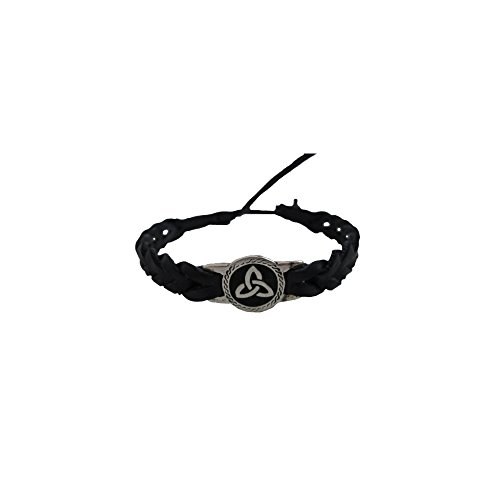 Celtic Friendship Bracelet Round Trinity Black Faux Leather