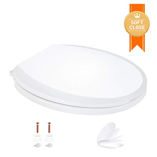 TACKLIFE Round Soft Close Toilet Seat with Non-slip Seat Bumper Now $21.50