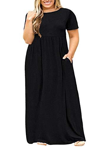 LONGYUAN Women Summer Casual Plus Size Maxi Dress with Pockets Black,3XL