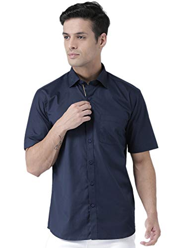Zeal Half Sleeve Shirts for Mens Cotton Stylish Casual Navy Blue Regular Fit Plain or Solid (Size: 39/S/Small)