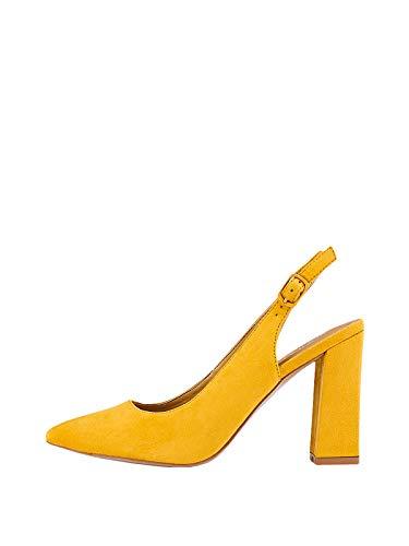 Marypaz, Salón tacón Ancho semidescubierto para Mujer Amarillo 40 EU
