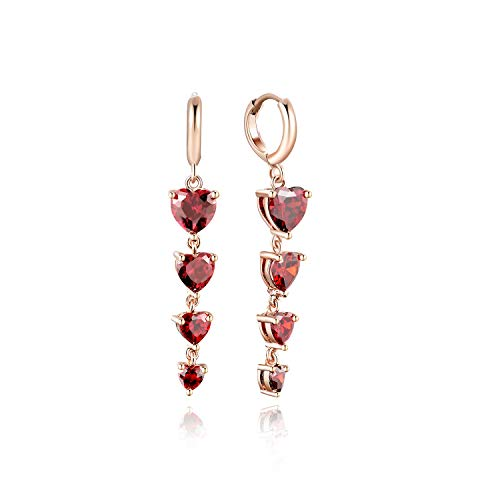 FANCIME Plated With Rose Gold Created Ruby CZ Cubic Zirconia Red Hearts Hoop Drop Dangle Earrings Wonderful Gift for Women