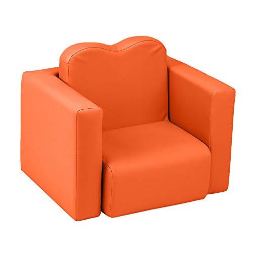 Sofá para niños 2 en 1, color naranja