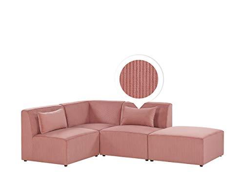 Canapé d'angle 3 places Rose Velours Moderne