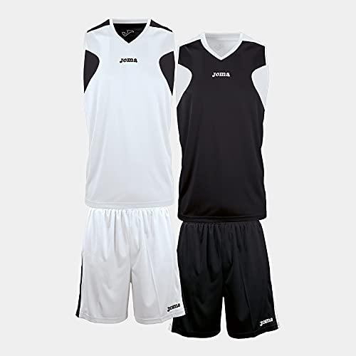 Joma Basket - Set de equipación de Manga Corta Unisex, Color Blanco/Negro, Talla M-L