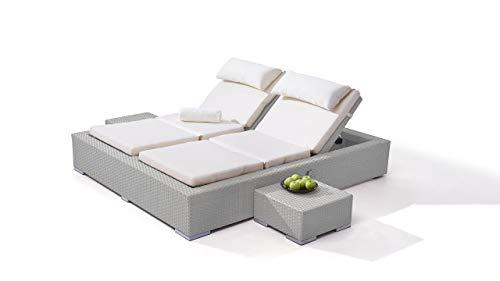 talfa Polyrattan Lounge Doppelliege in Grau satiniert - Big Smoop