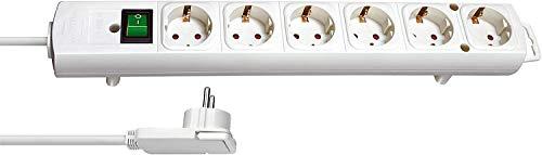 Brennenstuhl Comfort-Line Plus, Steckdosenleiste 6-fach (Steckerleiste mit Flachstecker und Schalter, Mehrfachsteckdose mit 2m Kabel und extra breiten Abständen der Steckdosen) weiß