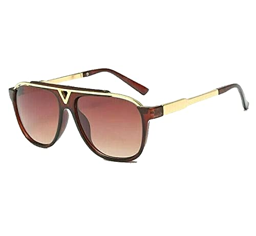 Nuevos hombres mujeres gafas de sol conducción retro al aire libre moda cuadrado con caso libre, color Marrón, talla Talla única