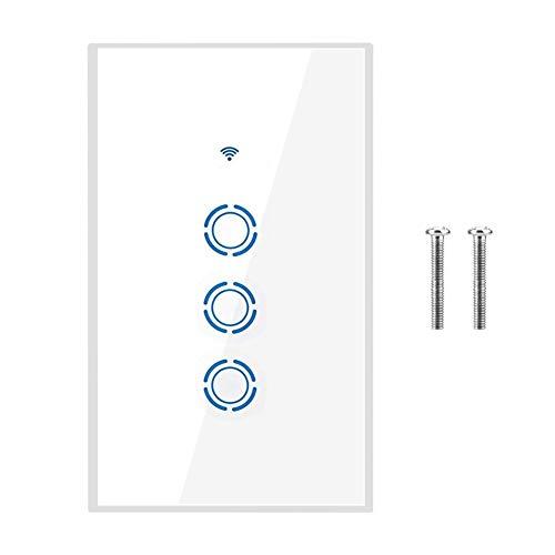 Smart Wandlichtschalter, flammhemmendes stilvolles Design Premium Praktisch robuster Touchscreen-Schalter, Badezimmer für Schlafzimmer Wohnzimmer LED-Lichtlampe(3 way)