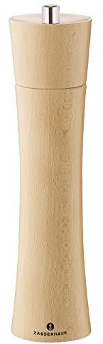 Zassenhaus Salzmühle Frankfurt 24 cm, aus Buchenholz mit stufenlos verstellbarem Hochleistungs-Keramikmahlwerk, befüllt