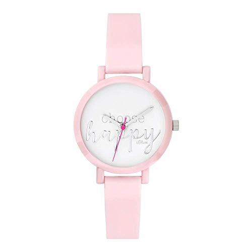 s.Oliver Mädchen Analog Quarz Uhr mit Silikon Armband SO-3768-PQ