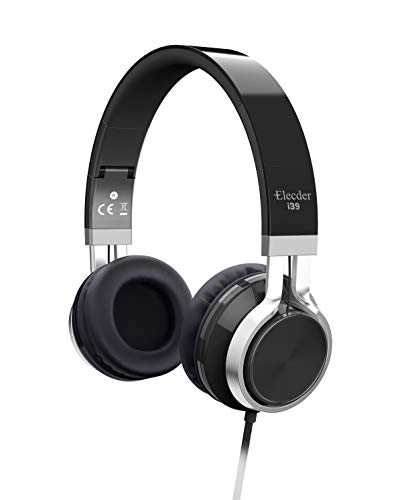 Elecder i39 Headphones with Microphone Foldable Lightweight Adjustable On Ear Headsets with 3.5mm Jack for iPad Cellphones Computer MP3/4 Kindle Airplane School Dark Black
