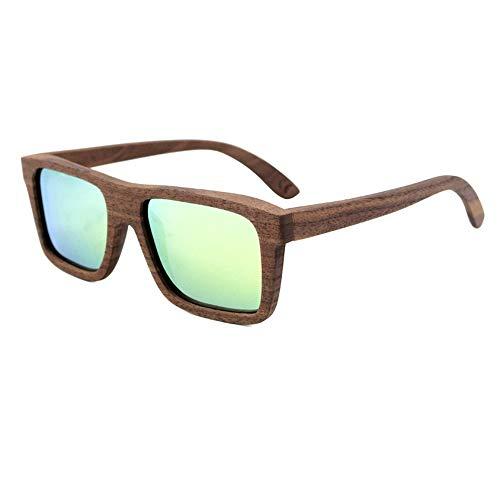 UICICI Gafas de Sol de Madera cuadradas Deportivas para Hombre, Marco de Madera Completo, polarizado (Color : Verde)