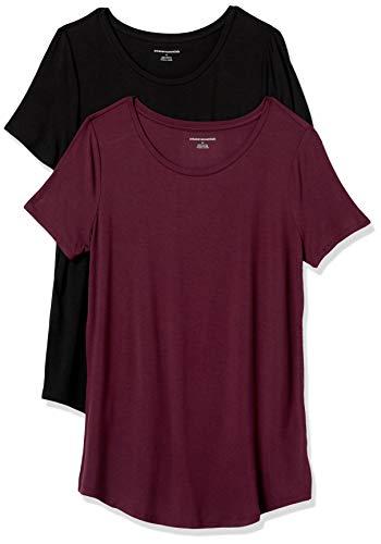 Amazon Essentials 2-Pack Short-Sleeve Scoopneck Tunic T-Shirt, Nero/Bordeaux, M