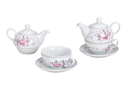 MC Trend Set van 3 theepot met kopje en schoteltje Tea for one met rozendecor theepot genieter tijd rust cadeau idee verjaardag