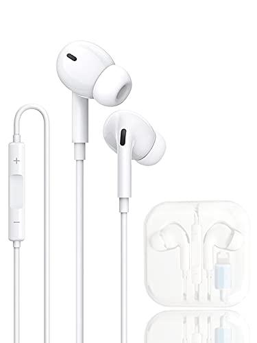 HCX Auriculares Cascos para iPhone,In Ear Resistentes al Sudor,Cascos con Cancelación de Ruido,Auriculares con Micrófono y Control de Volumen Compatible Cascos de iPhone 7/8 /Plus/11/12/Pro/XR