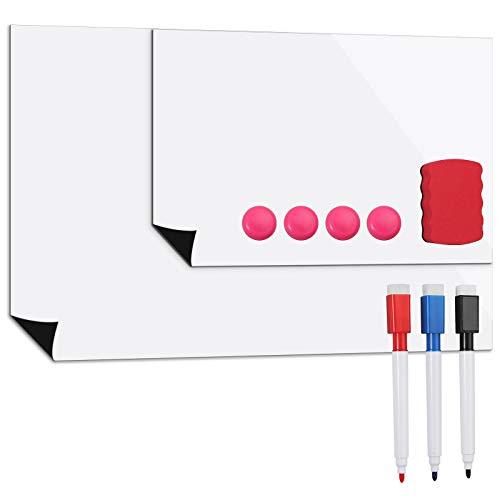 A3 A4 Pizarra Magnética para Nevera Pizarra Magnética Blanco Borrado en Seco Pizarra Nevera Tarjeta con Bolígrafo y Bloques para Frigorífico Tablero Lavable para el Hogar y la Oficina