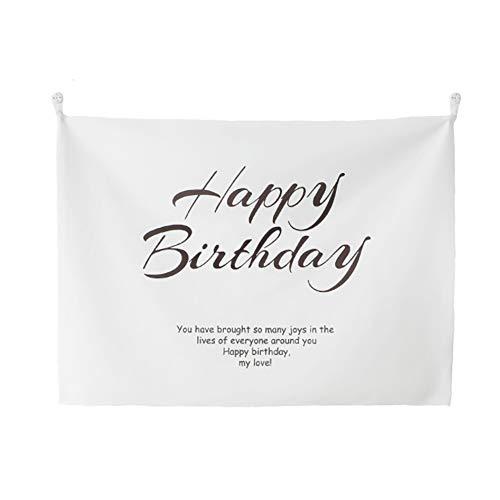 Lumierechat 誕生日 バースデー タペストリー 装飾 飾り シンプル ナチュラル 背景 壁飾り 写真背景 フォトブース a-b51(ミニバースデータペストリー)