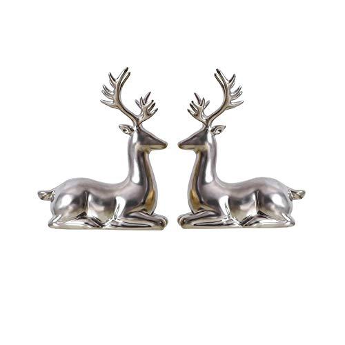 Artesanías De Escultura De Estatua Decoración de ciervos sala de estar gabinete de televisión creativo ciervo ornamento escritorio vino gabinete artesanía cerámica animales familia ciervos estatua doy