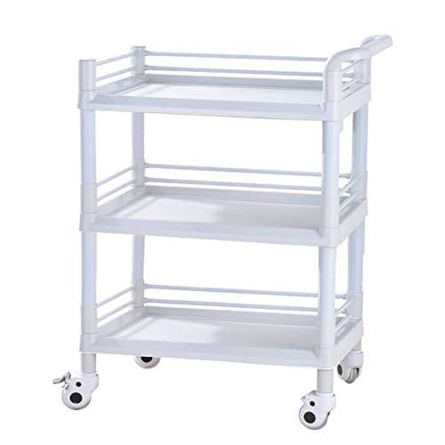 WJ Rollwagen Servierwagen ABS 3 Tier Medical Cart Trolley, Beauty Rolling Salon Regalwagen, Hochleistungs-Aufbewahrungsküchenwagen (Size : 65×45×93cm)