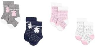 TOUS BABY, TOUS BABY - Set 4 calcetines variados, con logo TOUS para tu Bebé. Color Rosa (0 a 3 meses)