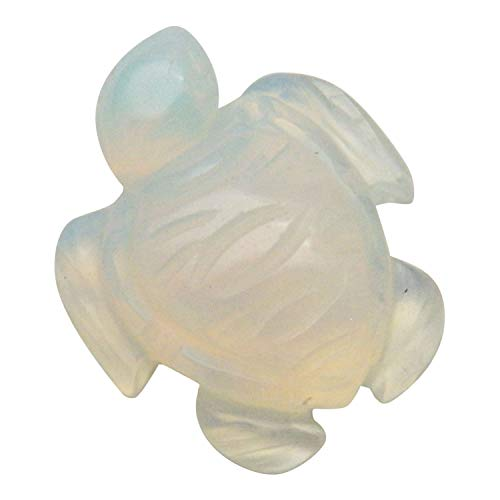 """Fundamental Rockhound Products: 1"""" Hand Carved Tortoise Sea Turtle Opalite Gemstone Crystal with Information Card and Pouch"""