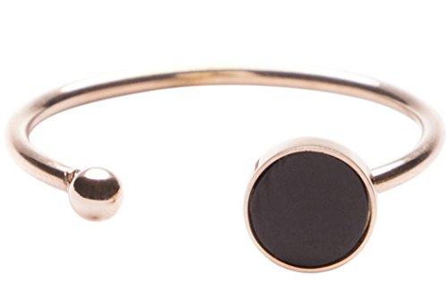 Happiness Boutique Damen Offener Ring Kreis und Kügelchen in Schwarz und Roségold | Cuff Ring mit Metallkugel Edelstahlschmuck