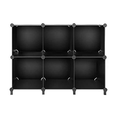 Syrads Caja de Almacenamiento de Plástico Modular de 6 a 12 Cubos, Armario Negro para Ahorrar Espacio, Organizador Portátil, Estantería Apilable, Armario