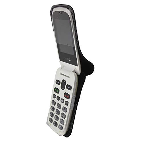caseroxx Hülle Ledertasche mit Gürtelclip für Doro 6030/6031 aus Echtleder, Tasche mit Gürtelclip & Sichtfenster in schwarz