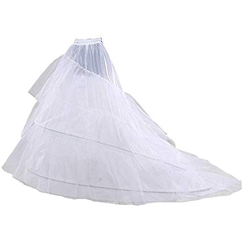 Schleppe Reifrock Tüllrock Neu 2 Ringe Weiß Brautkleid Unterrock Petticoat Tüll