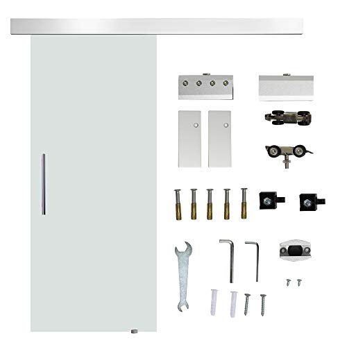 HOMCOM Glasschiebetür Schiebetür Tür Zimmertür mit Griffstange einseitig satiniert 2050x 775 mm