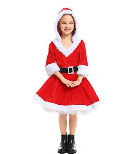 BERTHACC Weihnachten Party Kleider Damen Weihnachtsmann Kostüm Miss Santa Claus Kostüm Langarm Weihnachtskleider Weihnachtsfrau Midi Kleid, Weihnachtsmädchen Santa Kleid,Rot,L