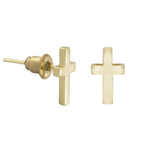 SoulSisters Lieblingsschmuck Filigraner Ohrstecker/Ohrring mit Kreuz Symbol - verkörpert Verbundenheit an den Glauben und die Liebe an Glaube - 18k vergoldet